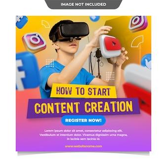 Modèle de médias sociaux de création de contenu