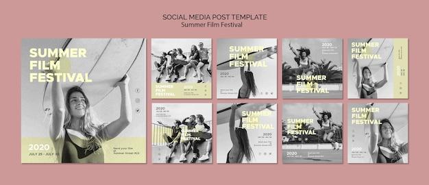 Modèle de médias sociaux du festival du film d'été