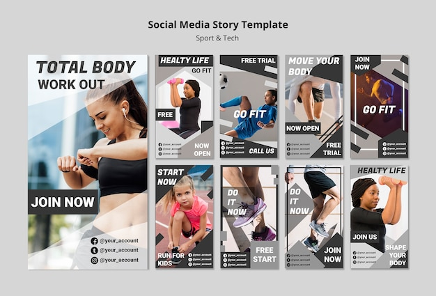 Modèle de médias sociaux d'entraînement total du corps