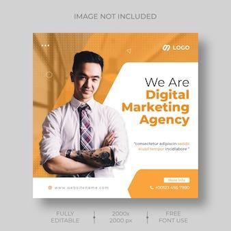 Modèle de médias sociaux d'entreprise et de publication instagram pour le marketing numérique