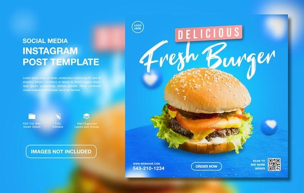 Modèle de médias sociaux instagram de délicieux burger food menu