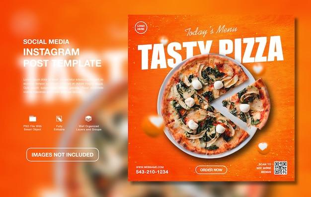 Modèle de médias sociaux instagram de menu de délicieuses pizzas