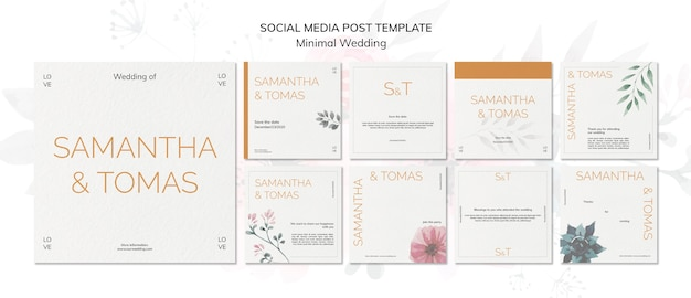 Modèle de médias sociaux d'invitation de mariage minimal
