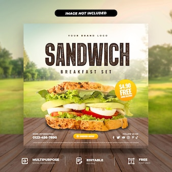 Modèle de médias sociaux de jeu de petit-déjeuner sandwich