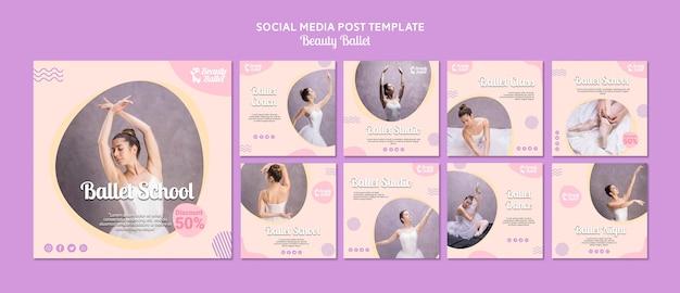 Modèle de médias sociaux de jour de ballet