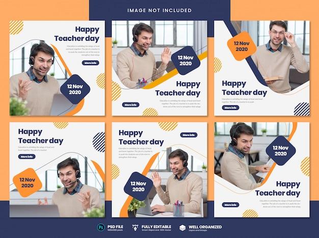 Modèle de médias sociaux de la journée des enseignants