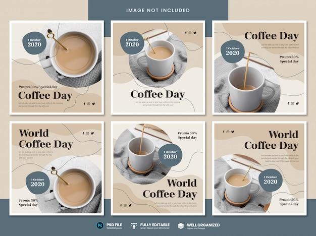 Modèle de médias sociaux de la journée mondiale du café