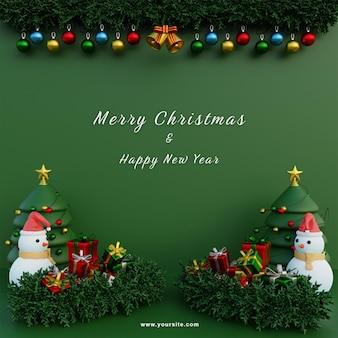 Modèle de médias sociaux joyeux noël guirlande fond vert arbres de noël et bonhomme de neige et cadeaux