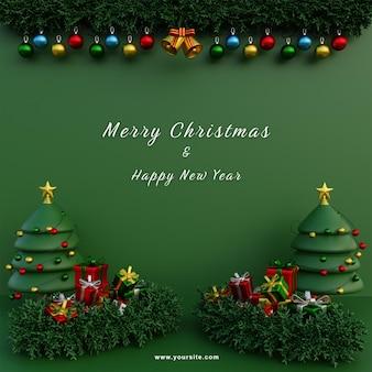 Modèle de médias sociaux joyeux noël guirlande fond vert arbres de noël et cadeaux