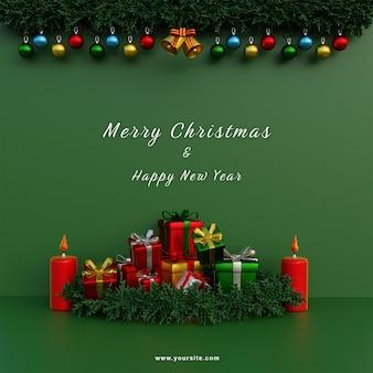 Modèle de médias sociaux joyeux noël guirlande fond vert et bougie rouge et cadeaux