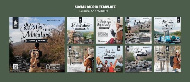 Modèle de médias sociaux sur les loisirs et la faune