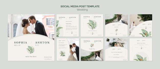 Modèle de médias sociaux de mariage élégant