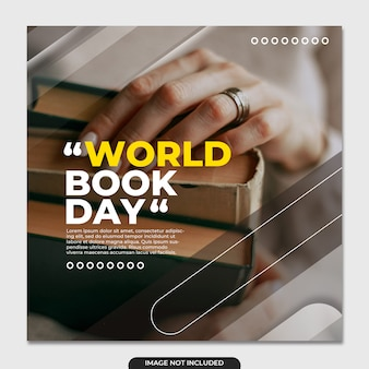 Modèle de médias sociaux pour la journée mondiale du livre
