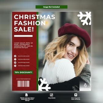 Modèle de médias sociaux de publication instagram de vente de mode de noël