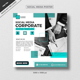 Modèle de médias sociaux de style entreprise sarcelle verte