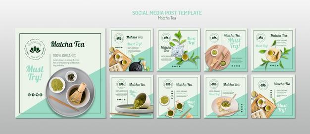 Modèle de médias sociaux de thé matcha