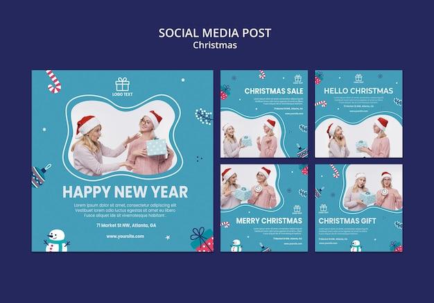 Modèle de médias sociaux de vente de noël