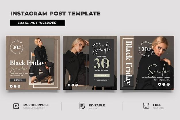 Modèle de médias sociaux de vente vendredi noir avec texture en plastique