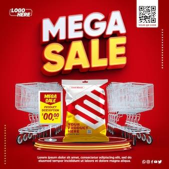 Modèle de méga vente de supermarché de médias sociaux avec affichage