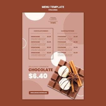 Modèle de menu au chocolat délicieux