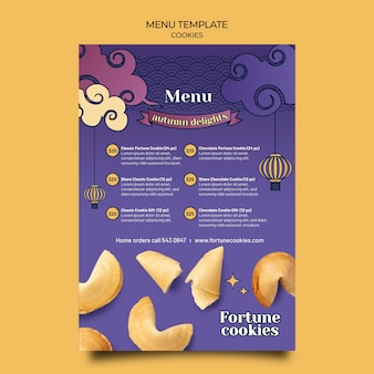 Modèle de menu de biscuits de fortune