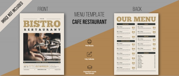 Modèle de menu bistro