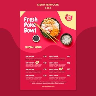 Modèle de menu de bol de poke frais