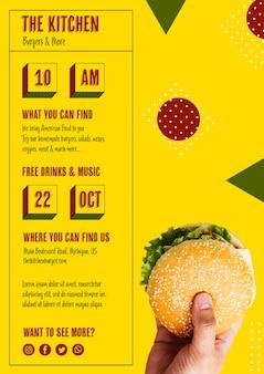Modèle de menu de burger de cuisine