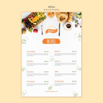 Modèle de menu de café et petit déjeuner délicieux