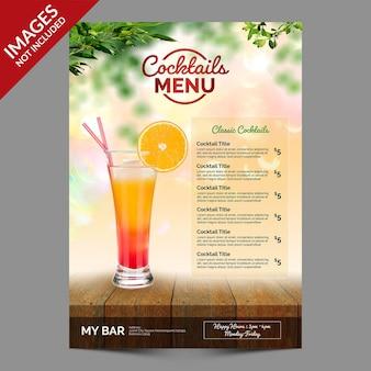 Modèle de menu de cocktails freshhappy hours