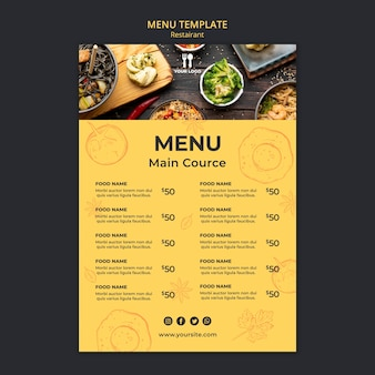 Modèle de menu concept brunch