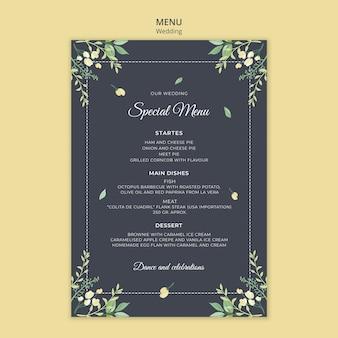 Modèle de menu de concept de mariage