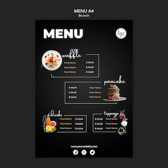 Modèle de menu de conception de restaurant brunch