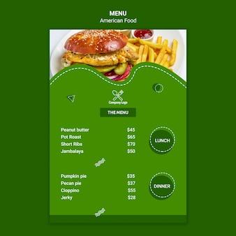 Modèle de menu de cuisine américaine