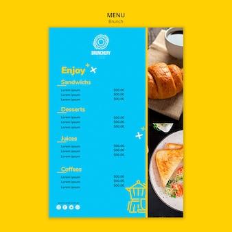 Modèle de menu délicieux brunch
