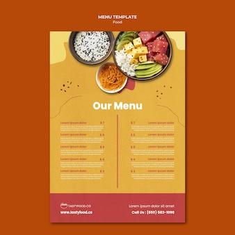 Modèle de menu de délicieux plats