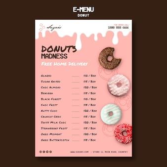 Modèle de menu électronique donuts madness