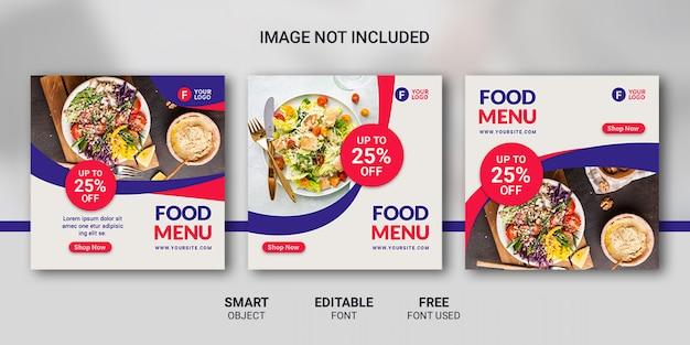 Modèle de menu instagram post food