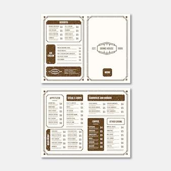 Modèle de menu minimaliste vintage bifold
