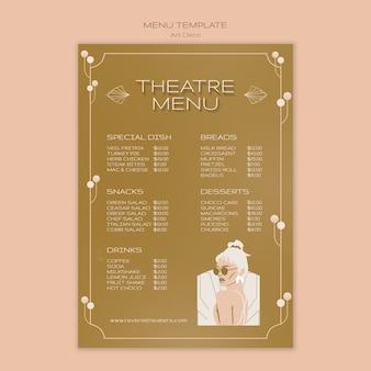 Modèle de menu musical art déco