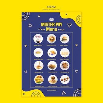 Modèle de menu avec de la nourriture américaine