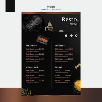 Modèle de menu de nourriture moody