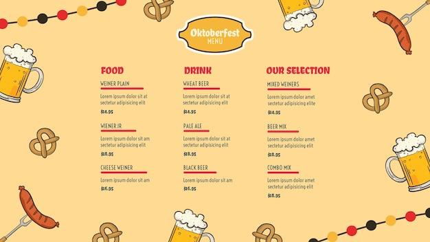 Modèle de menu oktoberfest