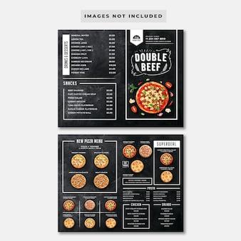 Modèle de menu de pizza tableau noir pliant