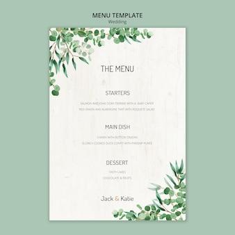 Modèle de menu pour mariage avec feuilles