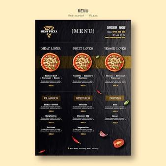 Modèle de menu pour pizzeria