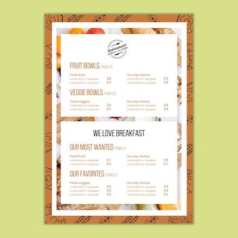 Modèle de menu pour restaurant