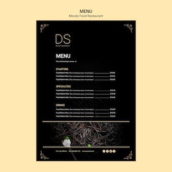 Modèle de menu de restaurant de cuisine moody avec photo