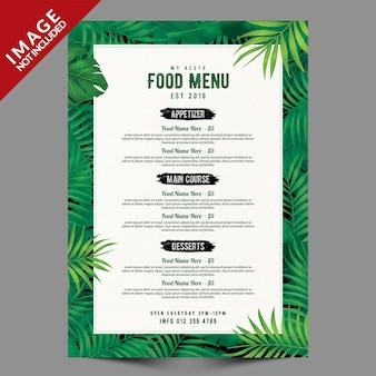 Modèle de menu de restaurant avec des feuilles tropicales