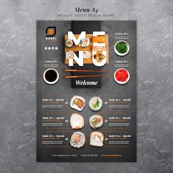 Modèle de menu de restaurant de nourriture moody